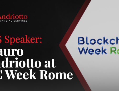 Mauro Andriotto presenting the future of blockchain at the first BC Week Rome